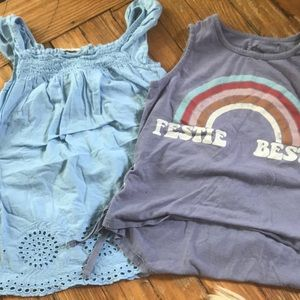 Girls sleeveless tees, both size 7/8